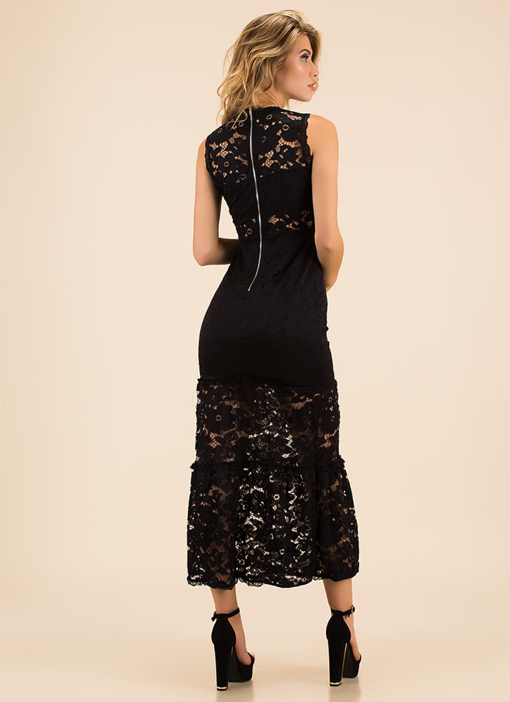 Lady In Floral Lace Tiered Maxi Dress BLACK
