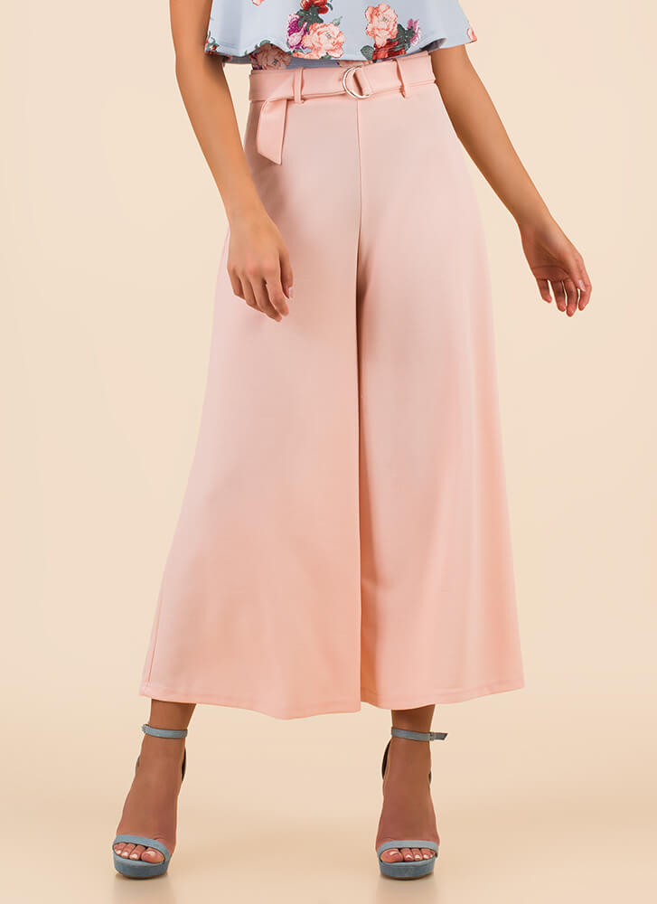 Wide Turn Flared Palazzo Pants PINK