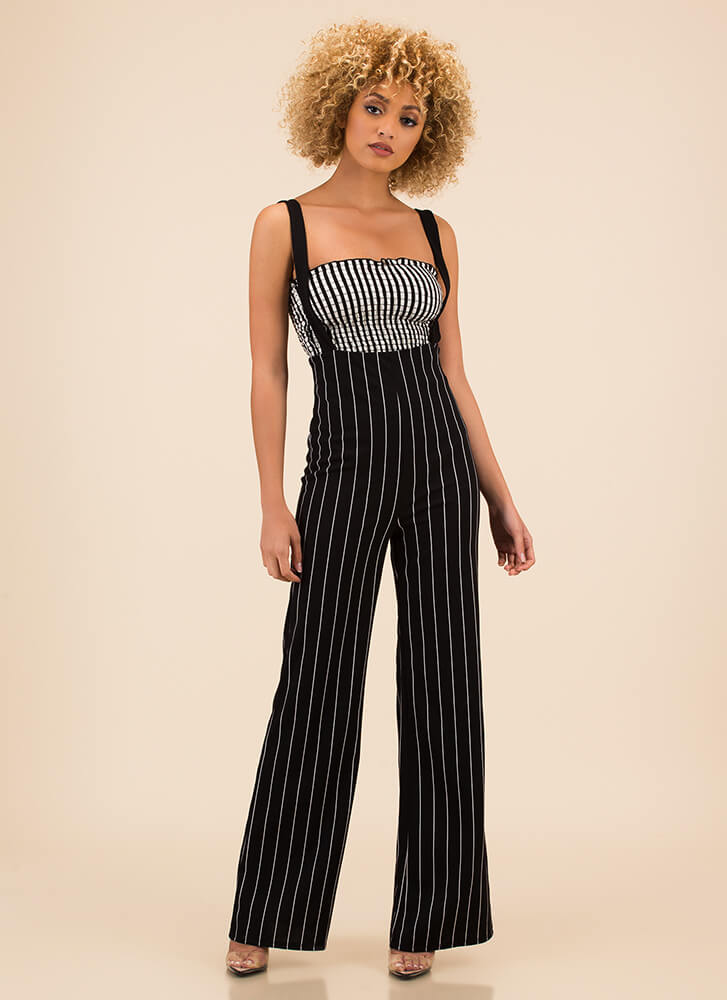 Perfectly Pinstriped Suspender Pants BLACK