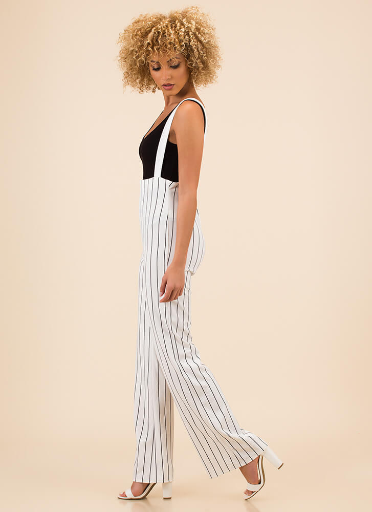 Perfectly Pinstriped Suspender Pants IVORY