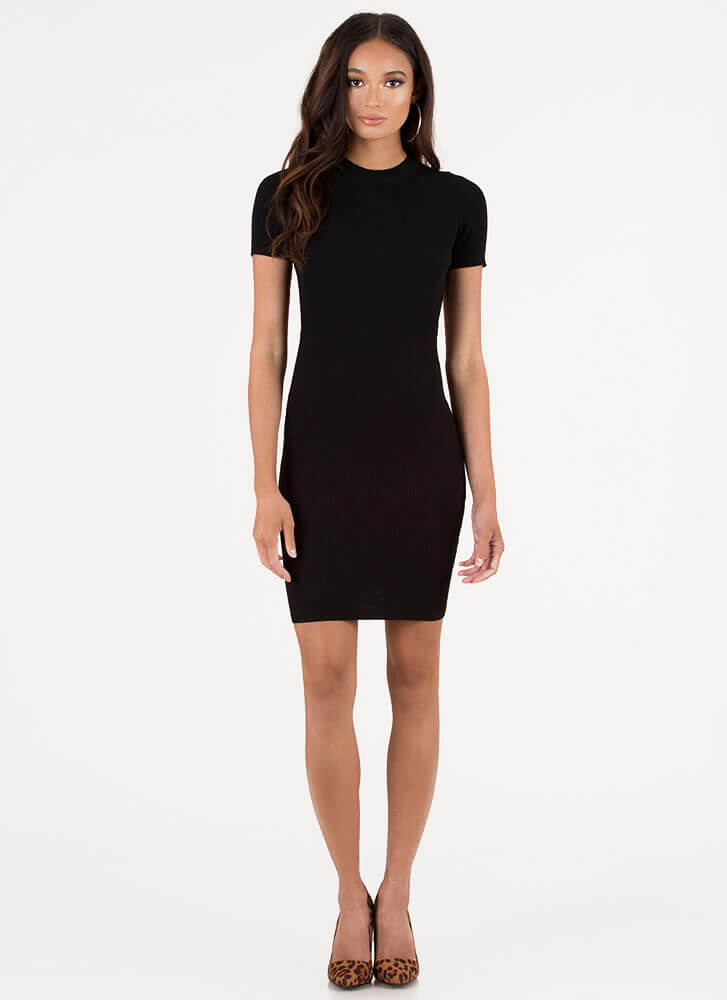 O My Goodness Open-Back Minidress BLACK