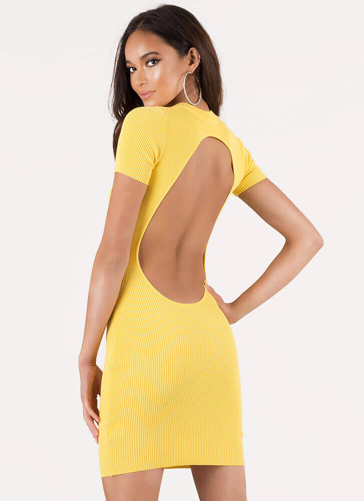 O My Goodness Open-Back Minidress YELLOW