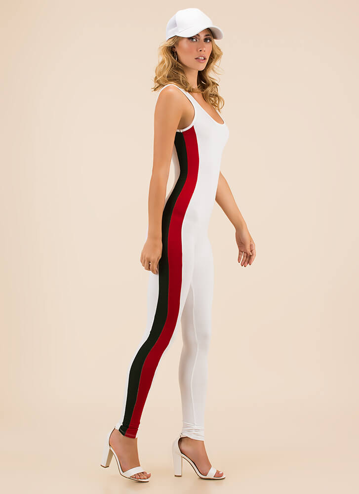 Athletic Prowess Striped Jumpsuit WHITE