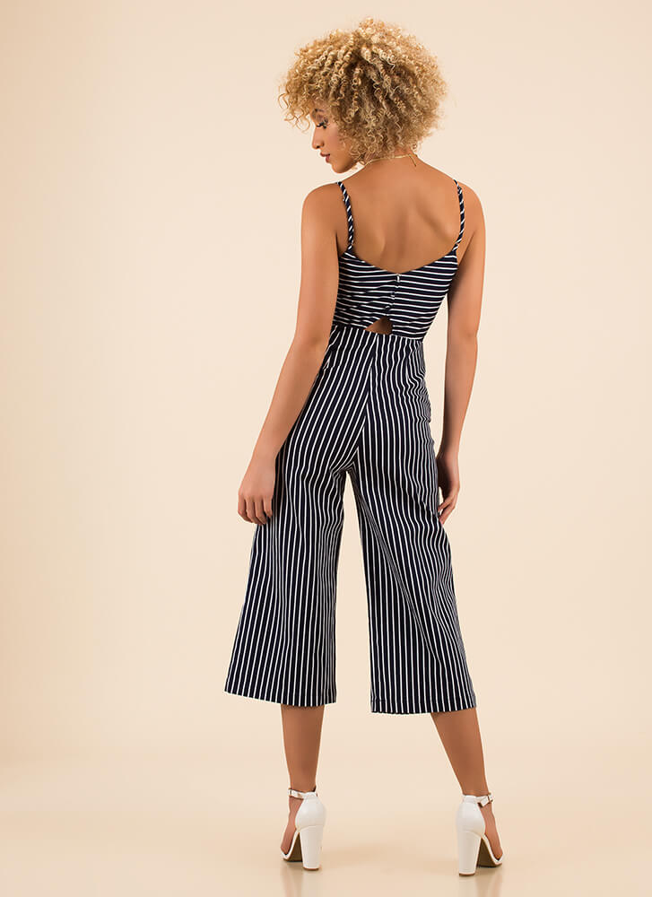 Tied To Stripes Cropped Jumpsuit NAVYWHITE