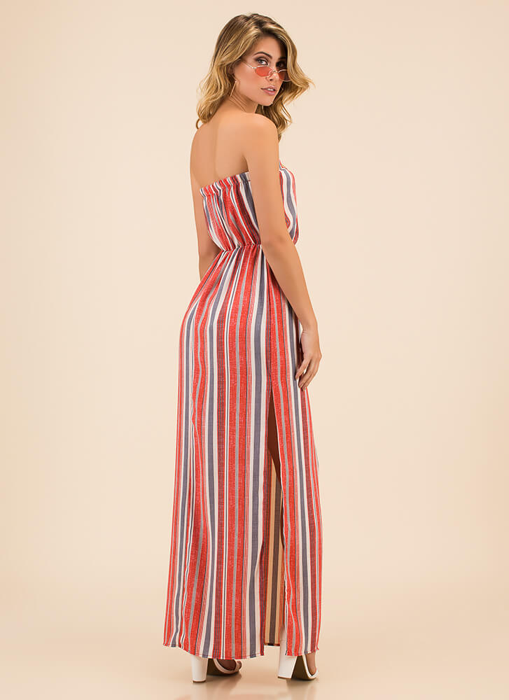 Stripes And Slits Strapless Maxi Dress CORAL