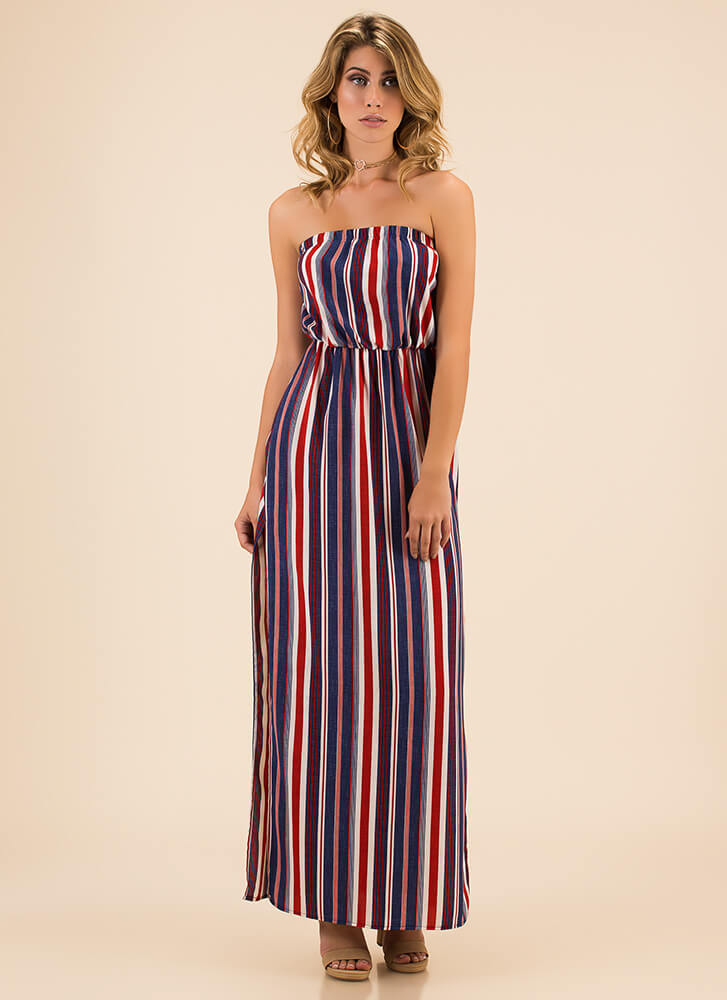 Stripes And Slits Strapless Maxi Dress NAVY