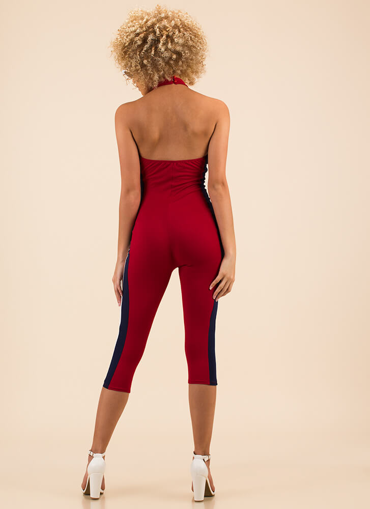 Sporty Stripes Cropped Halter Jumpsuit RED