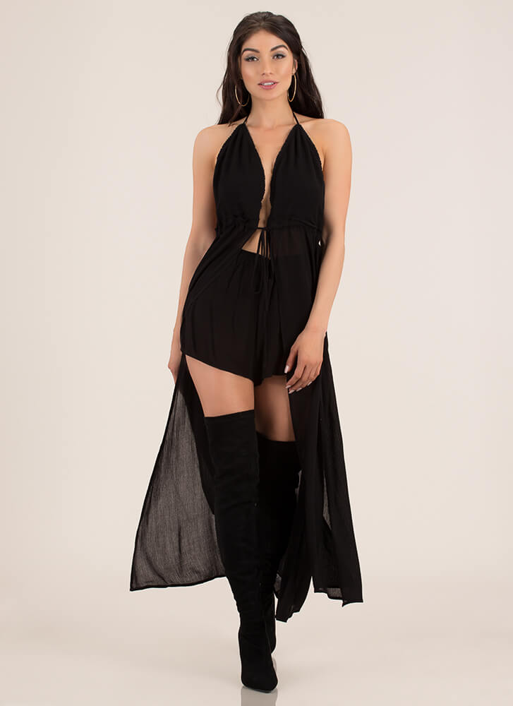 The Right Place Double-Slit Halter Maxi BLACK