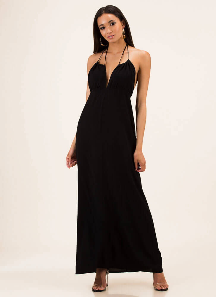 Welcome To The Weekend Halter Maxi BLACK
