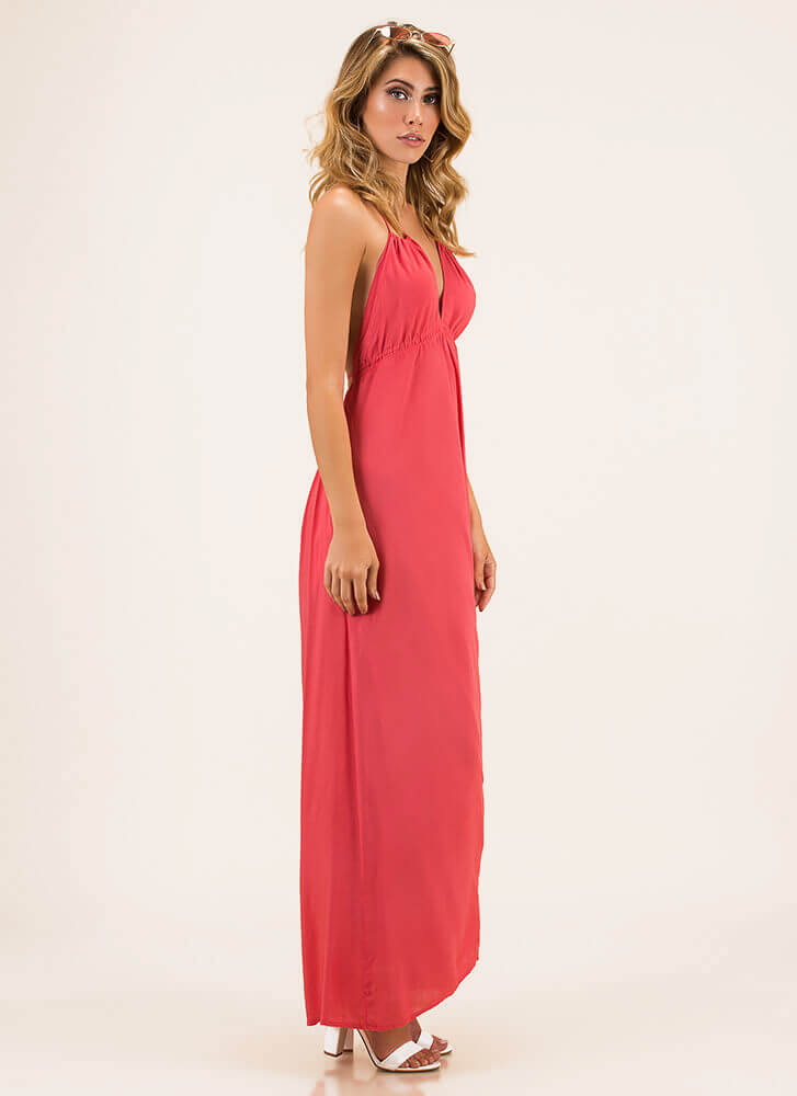 Welcome To The Weekend Halter Maxi CORAL
