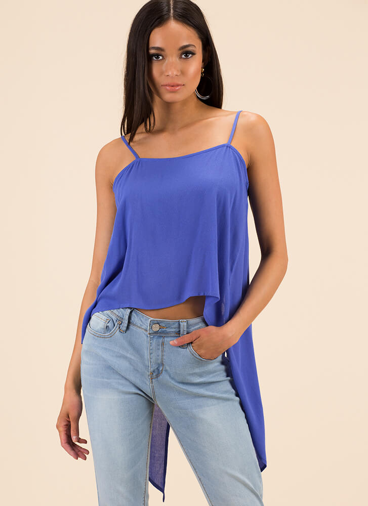 Let's Split It High-Low Tank Top BLUE (You Saved $8)