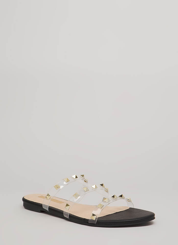Clearly Spiked Studded Sandals BLACK