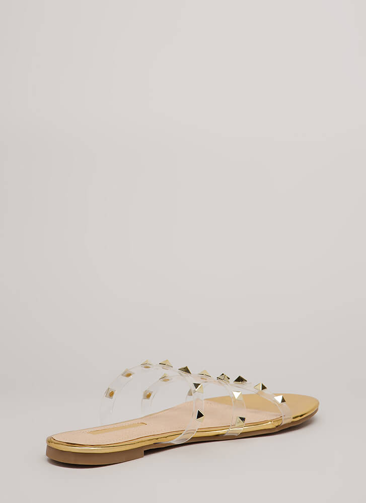 Clearly Spiked Studded Sandals GOLD