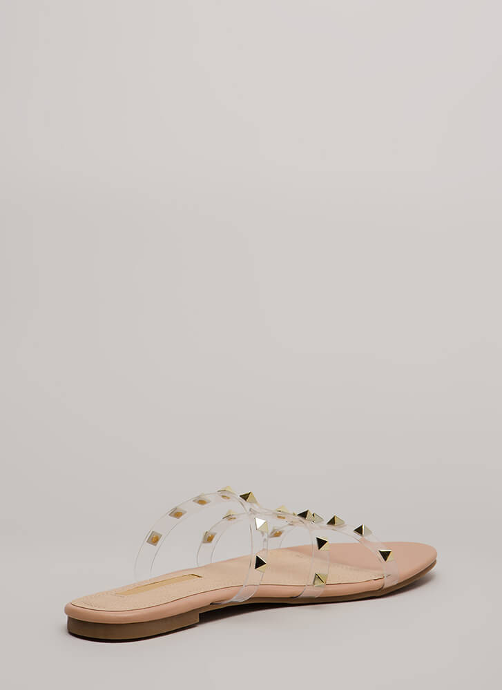 Clearly Spiked Studded Sandals NUDE