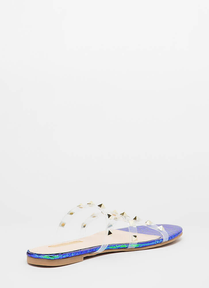 Clearly Spiked Studded Scaled Sandals GREEN