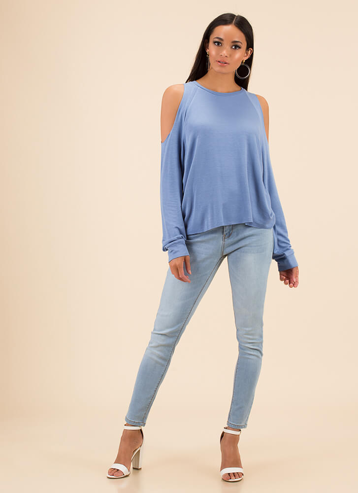 Time To Relax Cold-Shoulder Top BLUE