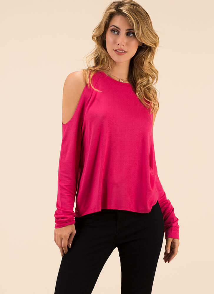 Time To Relax Cold-Shoulder Top FUCHSIA