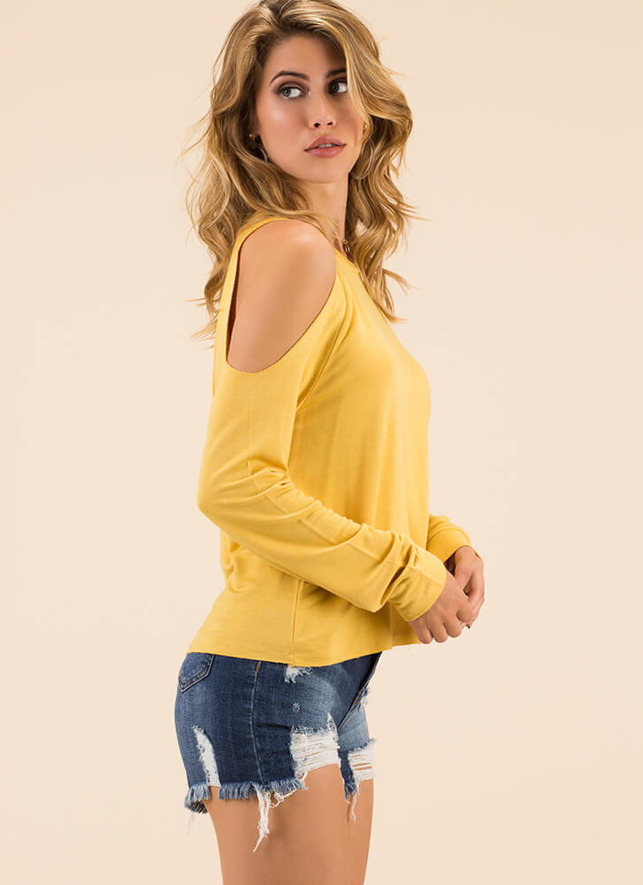 Time To Relax Cold-Shoulder Top YELLOW