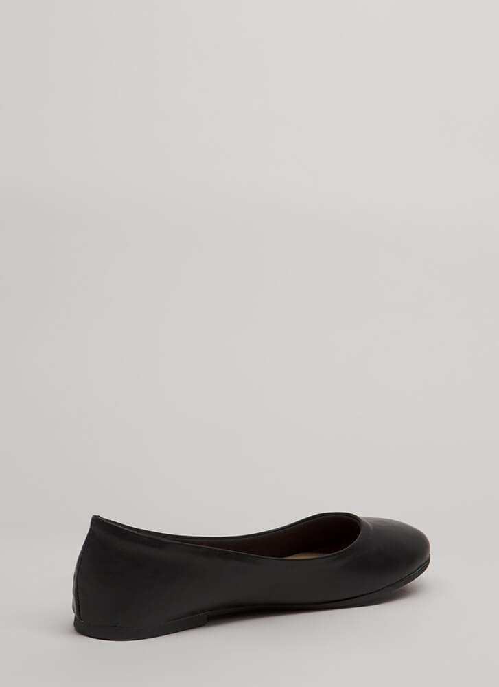 Tap Your Toes Faux Leather Ballet Flats BLACK
