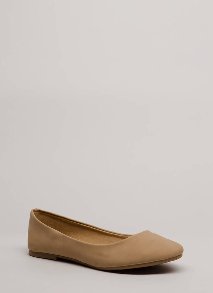 Tap Your Toes Faux Nubuck Ballet Flats NATURAL
