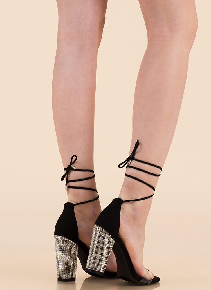 Clearly Sparkly Lace-Up Chunky Heels BLACK