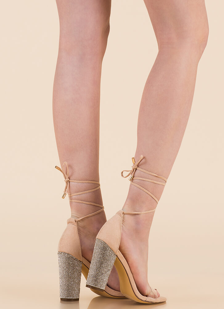 Clearly Sparkly Lace-Up Chunky Heels NUDE (Final Sale)