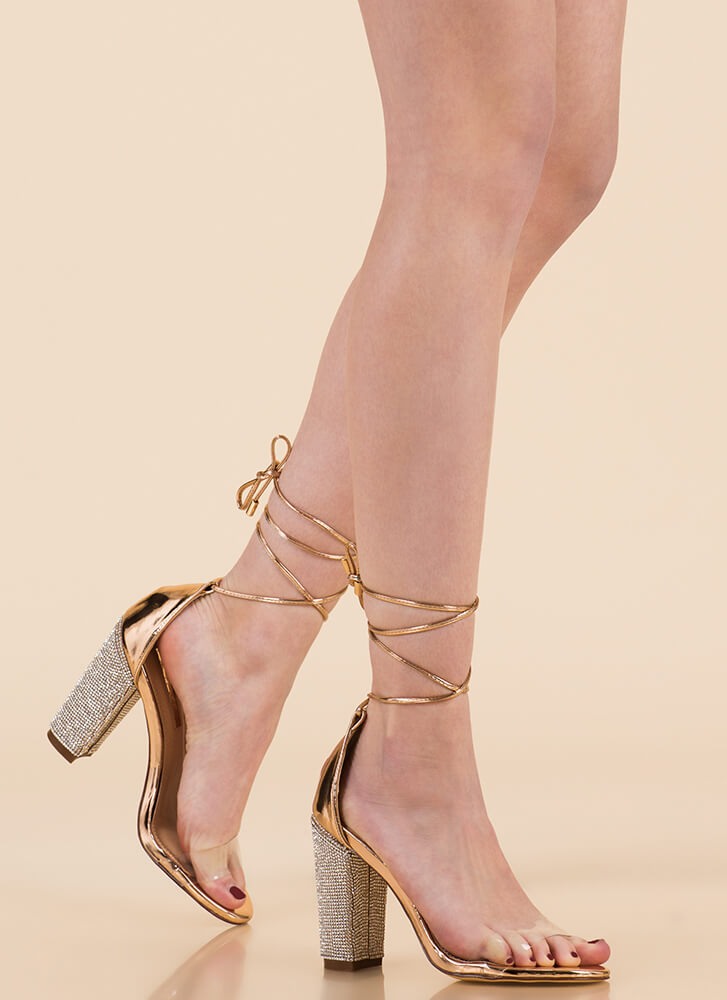 Clearly Sparkly Lace-Up Chunky Heels ROSEGOLD
