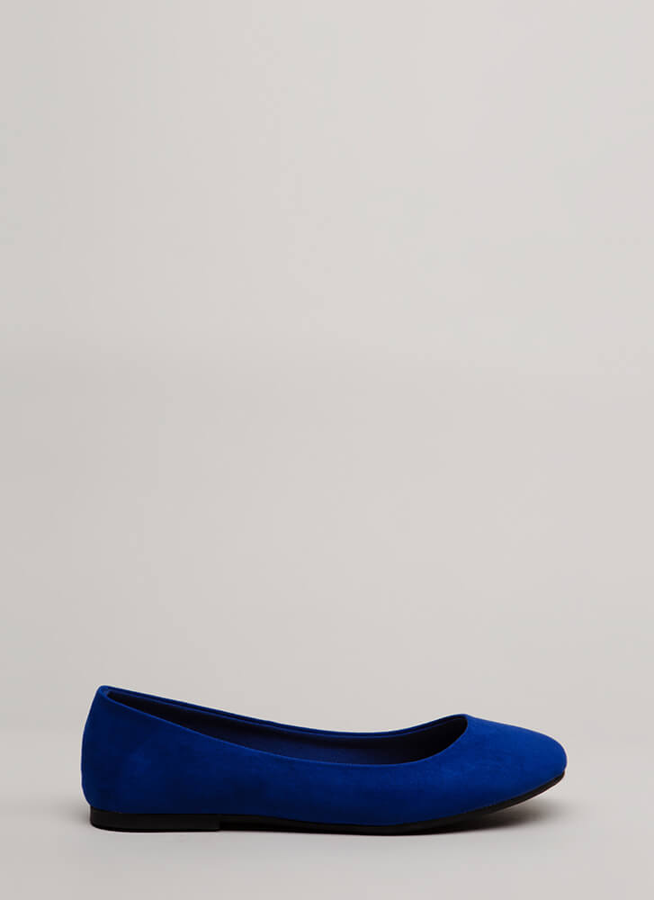 Tap Your Toes Faux Suede Ballet Flats BLUE