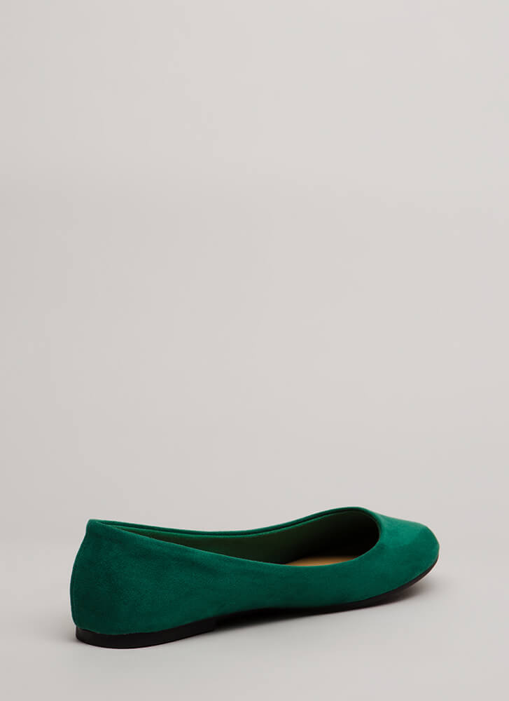 Tap Your Toes Faux Suede Ballet Flats GREEN