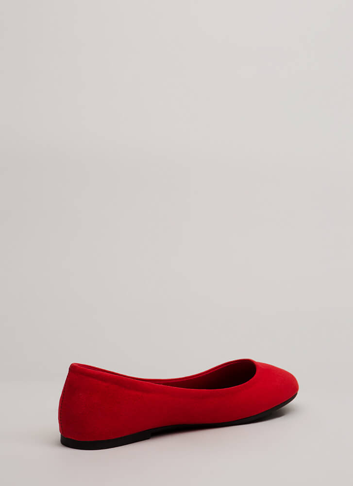 Tap Your Toes Faux Suede Ballet Flats RED