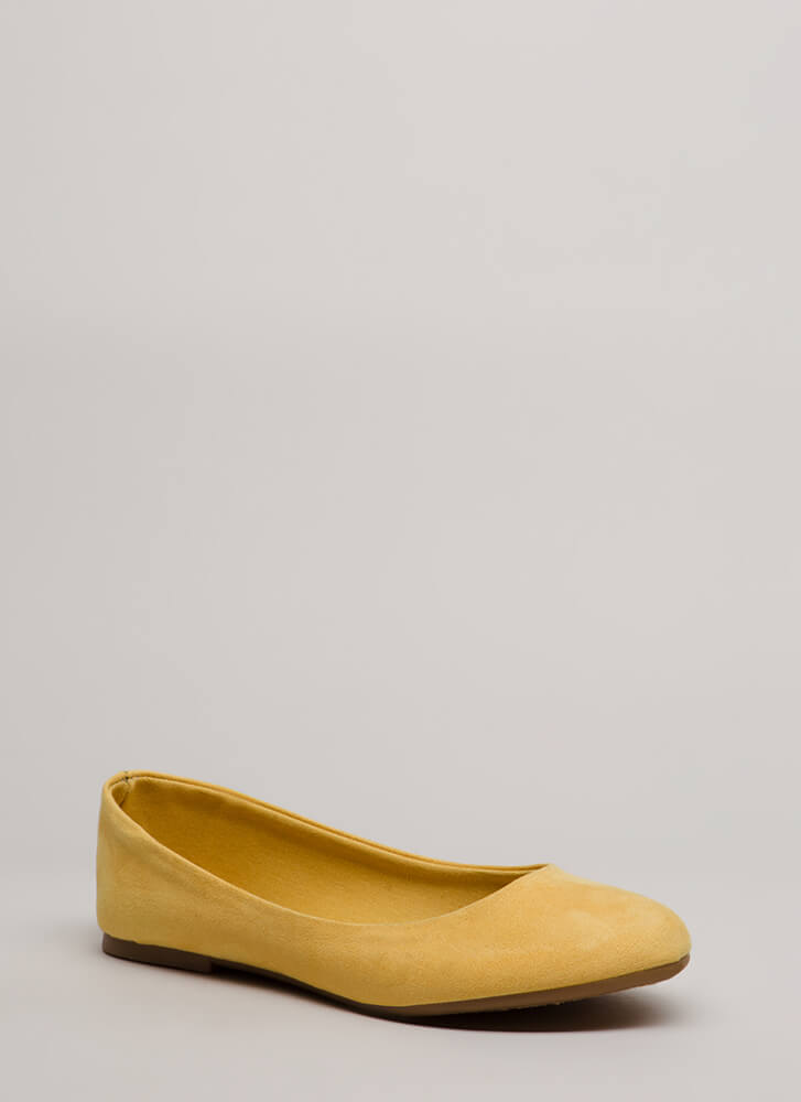 Tap Your Toes Faux Suede Ballet Flats YELLOW