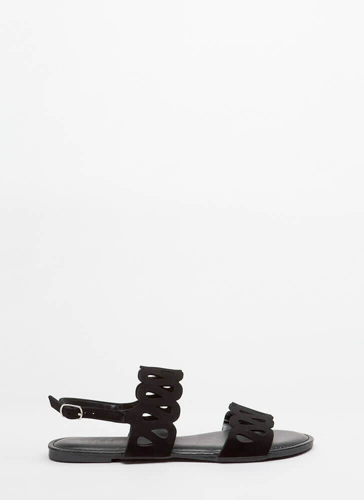 On A Loop Cut-Out Faux Nubuck Sandals BLACK