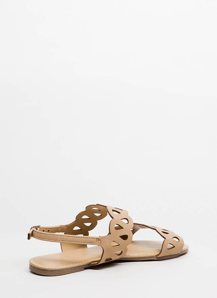 On A Loop Cut-Out Faux Nubuck Sandals NATURAL
