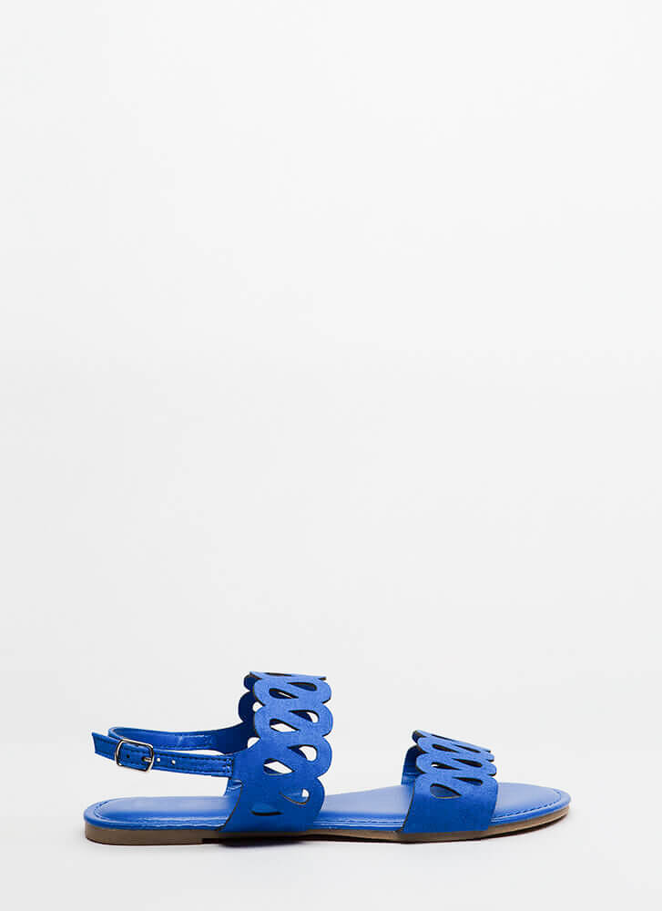 On A Loop Cut-Out Faux Suede Sandals BLUE