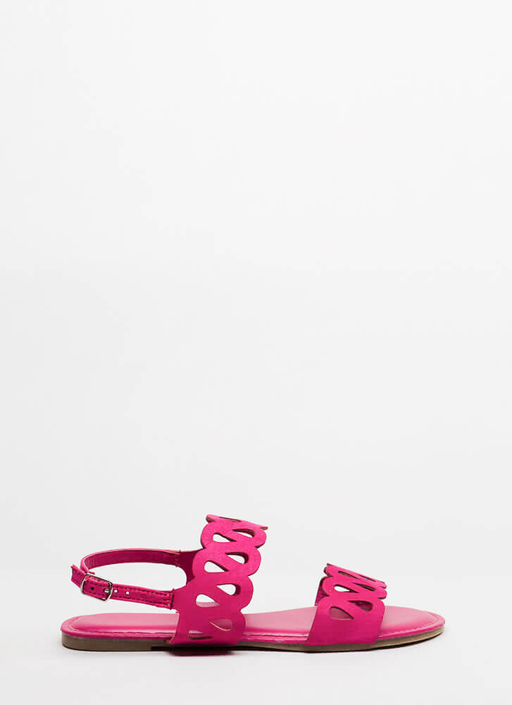 On A Loop Cut-Out Faux Suede Sandals FUCHSIA