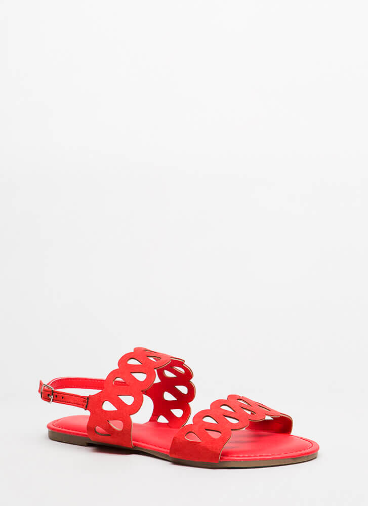 On A Loop Cut-Out Faux Suede Sandals ORANGE