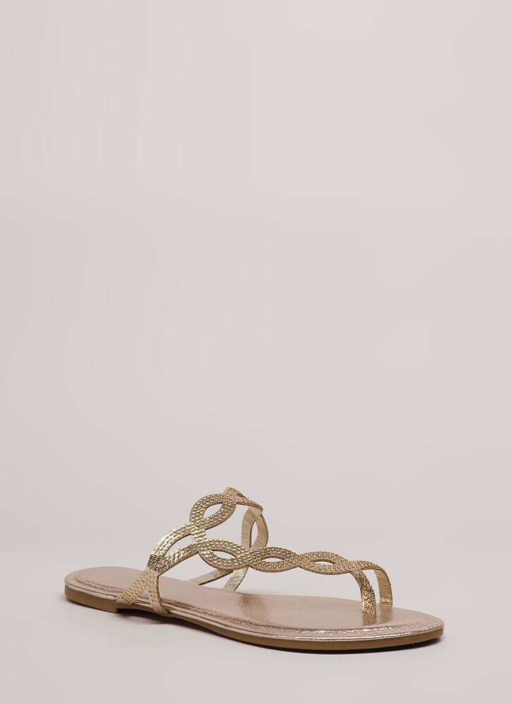 Loop Dreams Glittery Jeweled Sandals GOLD