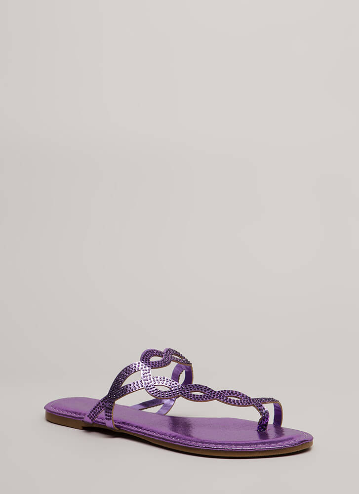 Loop Dreams Glittery Jeweled Sandals PURPLE (You Saved $10)