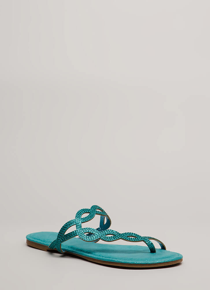 Loop Dreams Glittery Jeweled Sandals TURQUOISE