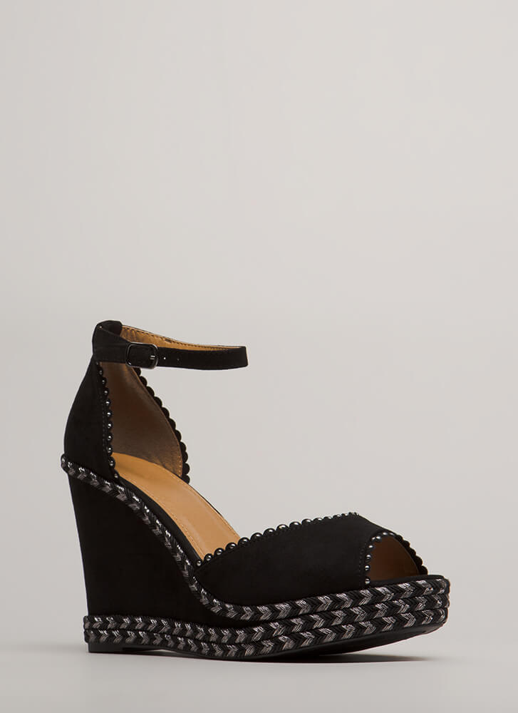 On Vacation Studded Braided Wedges BLACK