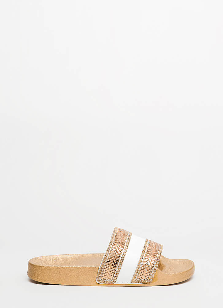 Sparkly Stripes Jeweled Slide Sandals WHITE