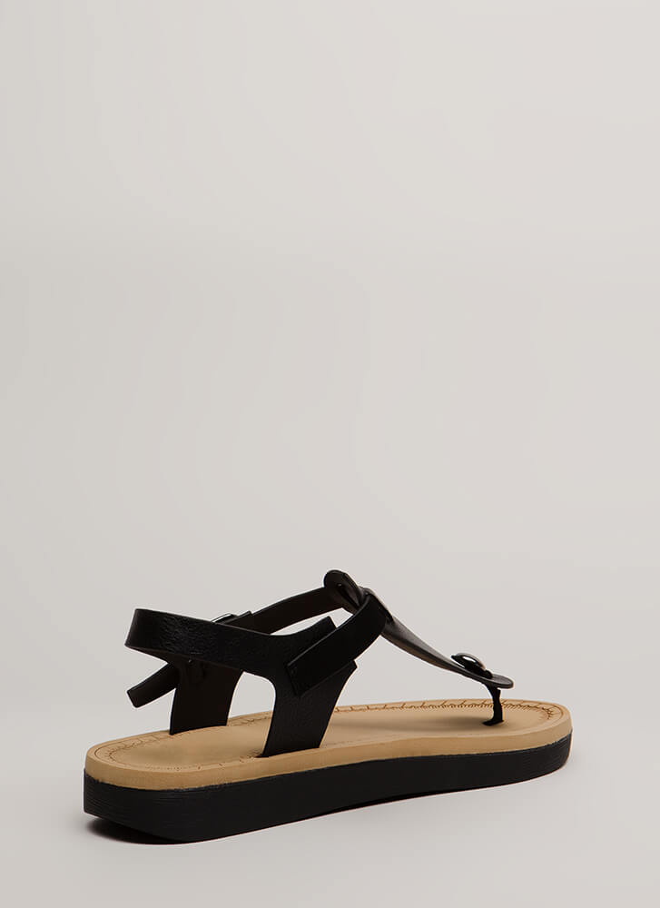 Open Space Platform T-Strap Sandals BLACK