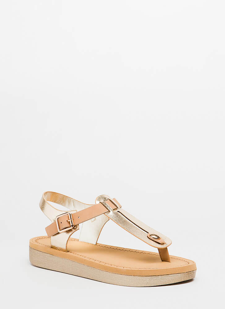Open Space Platform T-Strap Sandals GOLD