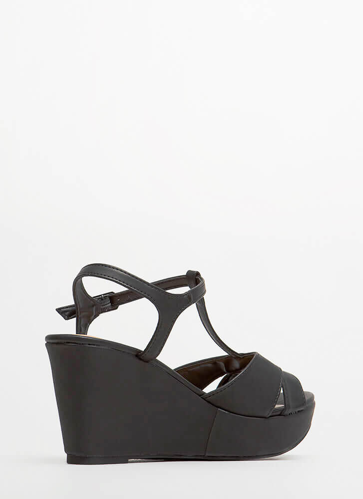 Stepping Out In Platform Wedges BLACK