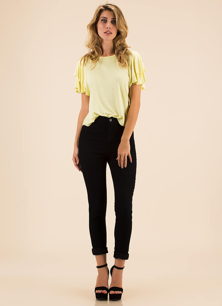 Going With The Flow Ruffle Sleeve Top YELLOW