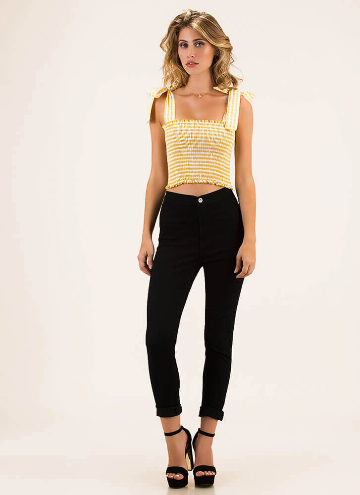 Mary Ann Gingham Tied Bow Crop Top YELLOW