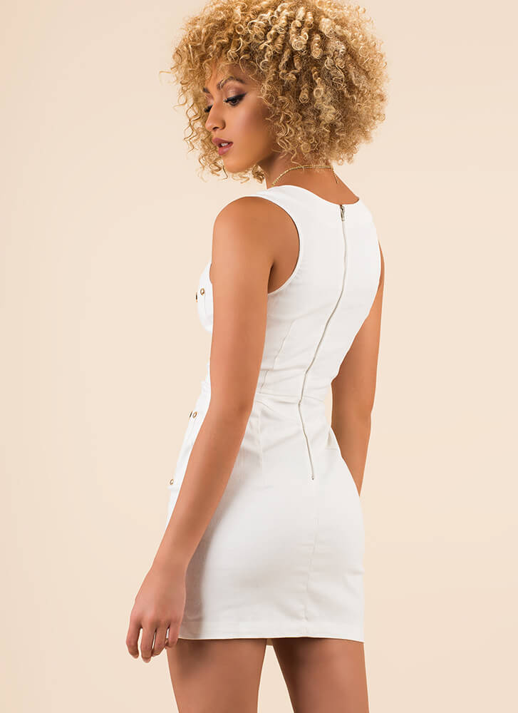 Bright As A Button Studded Minidress WHITE (You Saved $28)