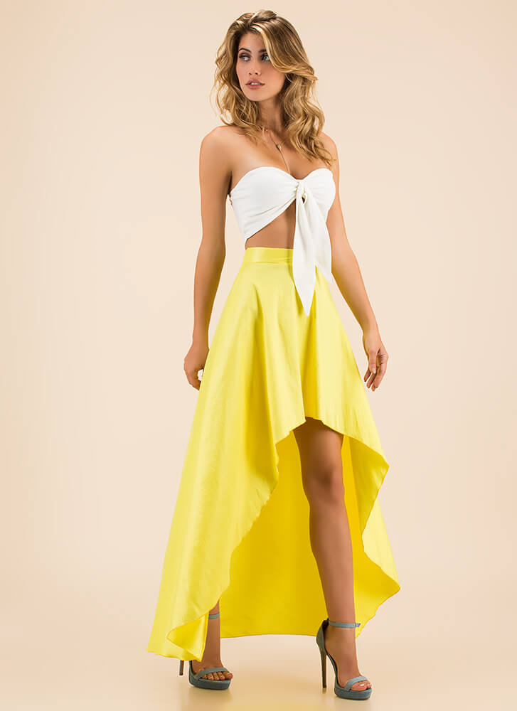 Special Night Tied Top And Skirt Set YELLOW