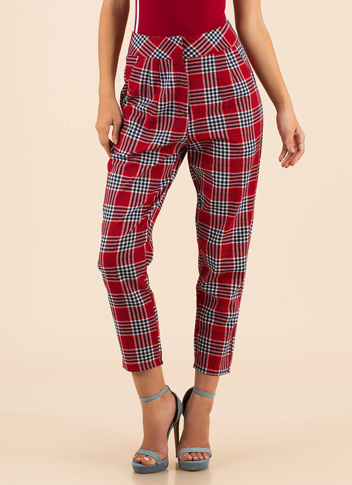 Plaid Perfection High-Waisted Pants RED