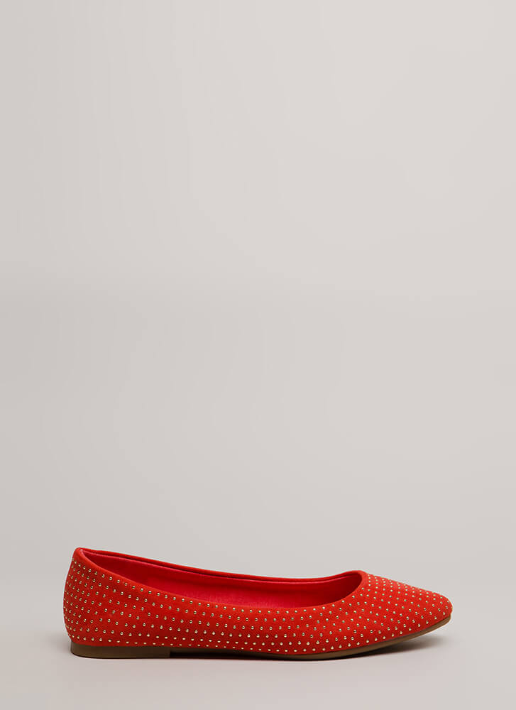 Dot The Eyes Studded Pointy Flats ORANGE